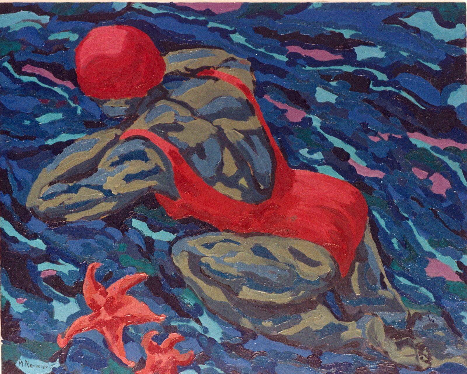 Bañista con estrella de mar