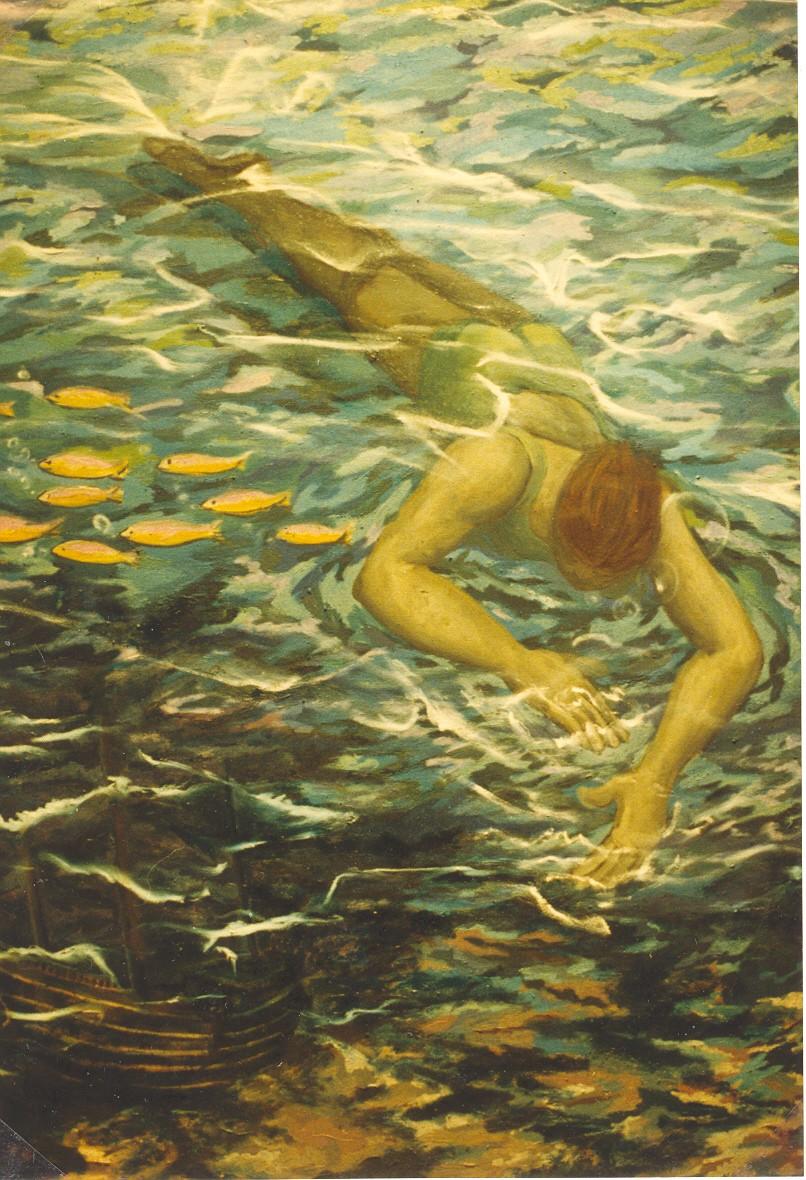 Bañista con barco hundido